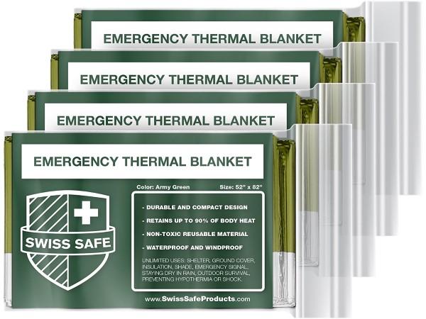 Emergency Mylar Thermal Blankets (4-Pack) + Designed for NASA