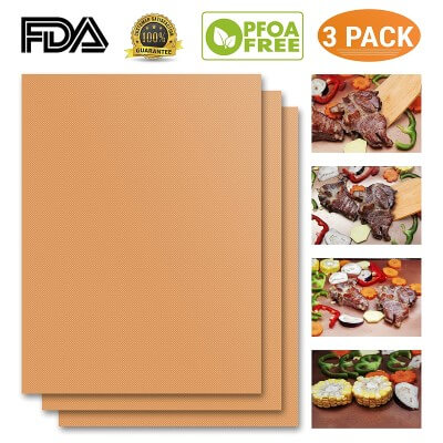 Copper Grill Mat Set of 3 Heavy Duty Gold Cooking Mat
