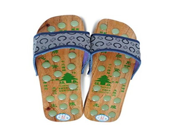 Global Care Market Wood Massage Slipper with Acupressure Stones