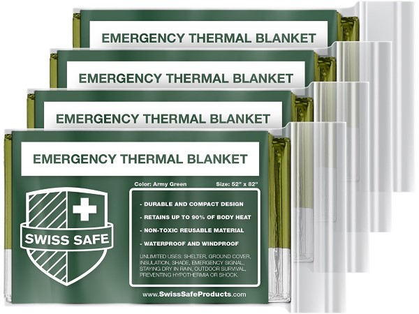 Emergency Mylar Thermal Blankets (4-Pack) + Designed for NASA