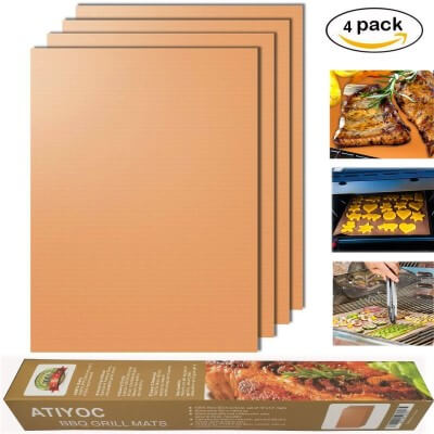 Atiyoc Copper Grill Mat, Set of 4 Non-stick