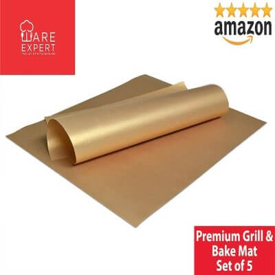 BBQ Grill Mat Set of 5 Non-Stick Copper Cookware